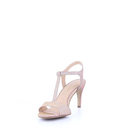Sandalo a T Cafè Noir art.MNB972 in tessuto glitterato platino/cipria 38