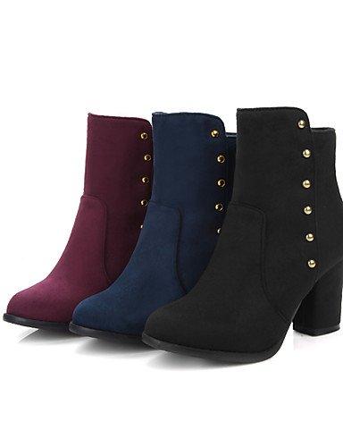 XZZ/ Damen-Stiefel-Kleid-Kunstleder-Blockabsatz-Modische Stiefel-Schwarz / Blau / Burgund burgundy-us8 / eu39 / uk6 / cn39