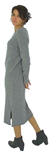 Strick HV400 Grau Mein Mallorca Lagenlook de Design Kleid Damen UWaCq4w7C0