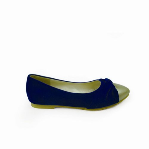 WeenFashion Women's Closed Pointed Toe Flats Microfibre Solid Flats Toe with Flowers and Assorted Colors, Darkblue, 5.5... B00JJM5P7S Shoes 0f2b7f
