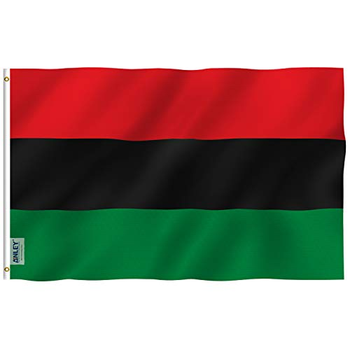 Anley Fly Breeze 3x5 Foot Afro American Flag - Vivid Color and UV Fade Resistant - Canvas Header and Double Stitched - Pan-African Flags Polyester with Brass Grommets 3 X 5 Ft