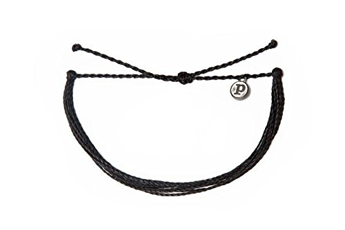 Pura Vida Solid Black Bracelet - Iron-Coated Copper Charm, Adjustable Band - 100% Waterproof