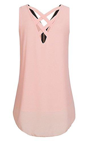 Schienale Senza Bende Scollo Donna Tops Zip Vest Sexy Bluse Tunica Rosa Camicie V Estivo Canotte Monika Moda Maniche Chiffon Senza con nC6qYn