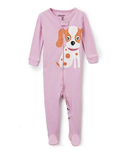 Elowel Baby Girls footed ''Dog'' pajama sleeper 100% cotton 12-18 Months by Elowel Pajamas