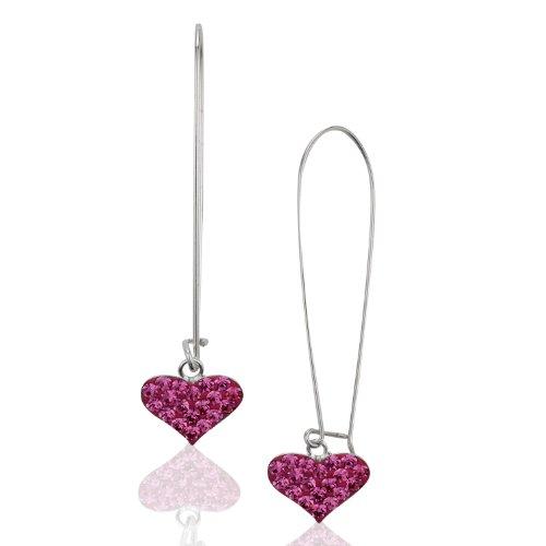 Crystal Studded Heart Earrings - 925 Sterling Silver Pink Crystal Glass Studded Heart Studded Dangle Earrings