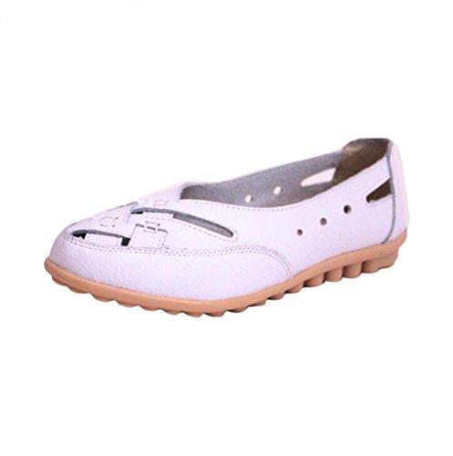YAANCUN Mujeres Comodidad Hueca Transpirable Mocasines Suave Auténtico Cuero Zapatos De Conducción Blanco