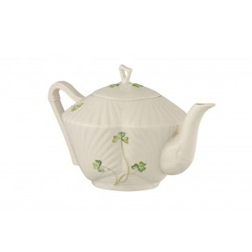 Belleek Pottery Harp Shamrock Teapot, Green/White