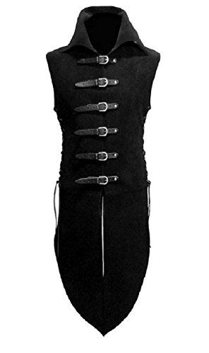 Abetteric Men's Renaissance Medieval Unisex Victorian Waistcoats Vests Black M -