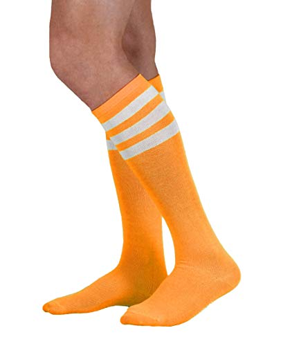 NeonNation Colored Knee High Tube Socks w/White Stripes (Neon Orange) -