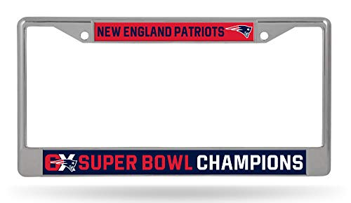 Rico Industries, Inc. New England Patriots 6X Super Bowl Champions Chrome Frame License Plate ()