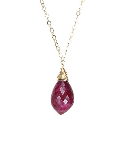 Genuine Large Ruby Gemstone Teardrop Marquise Pendant Gold Necklace- 17