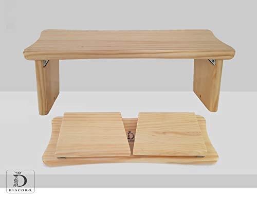 Banco de meditacion plegable - nuevo modelo mejorado de ano 2020, taburete de meditacion en acabado de pino macizo natural, con formato de cierre facil y bisagra reforzada