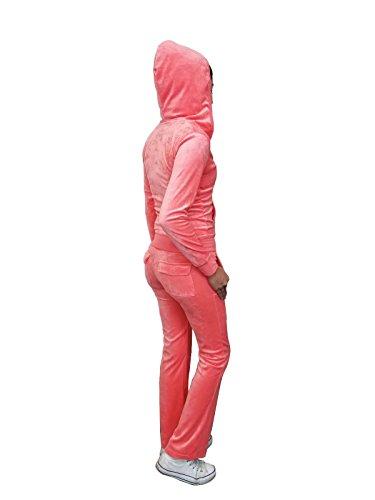 (Women's Zip up Plush Soft Velour Jogging Track Suit (VS795110 Neon Coral, Large))