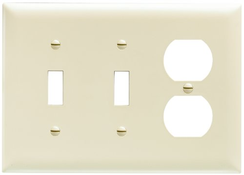 Legrand - Pass & Seymour TP28ICC12 Combination Opening Nylon Wall Plate, Two Toggle, One Duplex, Three Gang, Ivory (Ivory Plate Toggle)