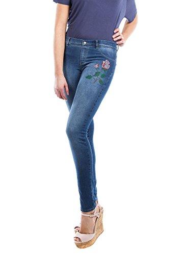 Bordados Ceñido 767 Ajuste stone Lavado Mujer 710 Carrera Para Jeans Tejido Azul De Medio Normal Con Wash Jeggings Cintura Extensible FvqxYz