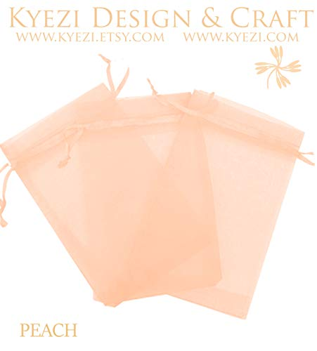200 Peach - 500 Pcs Peach 4x6 Sheer Drawstring Organza Bags Jewelry Pouches Wedding Party Favor Gift Bags Gift Bags Candy Bags [Kyezi Design and Craft]