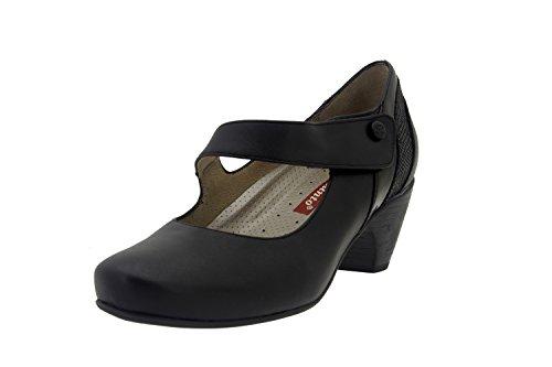 Calzado mujer confort de piel Piesanto 7403 zapato mercedes casual cómodo ancho Negro