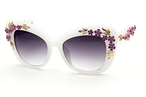 Floral Cat (Flowertree Women's S4230B2 Plastic Floral Embellished Party Novelty Cat Eye 53mm Sunglasses (White))