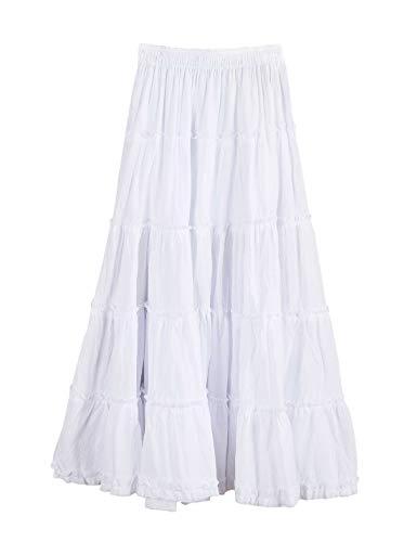 Tanming Women's Elastic Waist Stitching Lettuce Hem Ruffled Cotton Linen Long Skirts (White)
