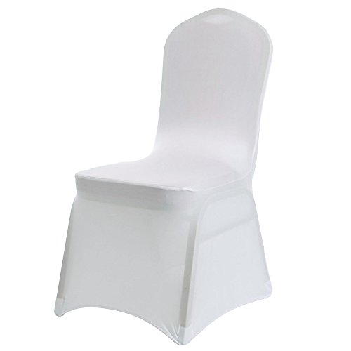 home-mall Universal 100 pcs White Spandex Chair Covers Wedding Banquet Wedding Party Dining Decoration