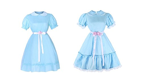 ROLECOS Lolita Dress Blue Chiffon Dress Cute Puff Sleeve Halloween Party Cosplay Costume