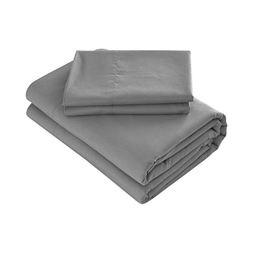 Prime Bedding Bed Sheets - 3 Piece Twin Sheets, Deep Pocket Fitted Sheet, Flat Sheet, Pillow Case - Dark Gray (Deep Fitted Sheets Twin)