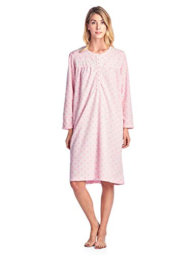 - Casual Nights Women's Long Sleeve Micro Fleece Cozy Floral Nightgown - Pink - Large
