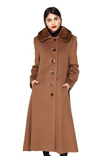 "662 Dark Camel Loro Piana 100% Cashmere with Wild Type Mink Collar 48"" Princess Cut Coat ()"