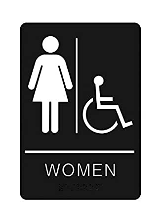 Womens Braille Handicapped Restroom Sign - ADA Approved Bathroom Sign with Double Sided 3M Tape