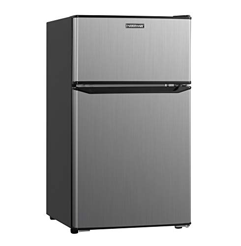 Farberware Classic  FCR31DCVBKB 3.1 Cu. Ft. Double Door Compact Refrigerator with Freezer Compartment, Energy Star and LED Lighting – Perfect for Office, Dorm or an Apartment, VCM Stainless Look