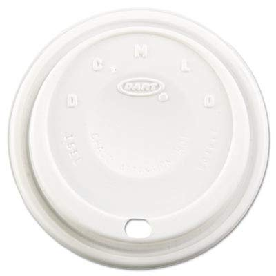 Fits Dome Lid - Dart Cappuccino Dome Sipper Lids, Fits 12-24oz Cups, White, 1000/Carton
