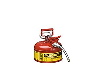 Type II AccuFlow Steel Safety Can for flammables, 1 gal, S/S flame arrester, 5/8 metal hose