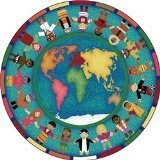 """Joy Carpets Kid Essentials Early Childhood Round Hands Around The World Rug, Multicolored, 7'7"""""""