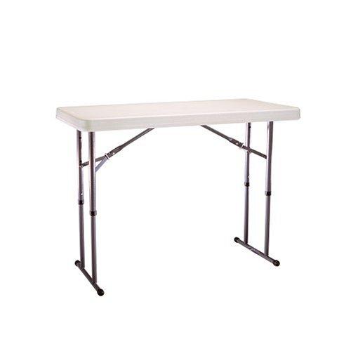 Lifetime 22942 4-Foot Adjustable Folding Table, Almond