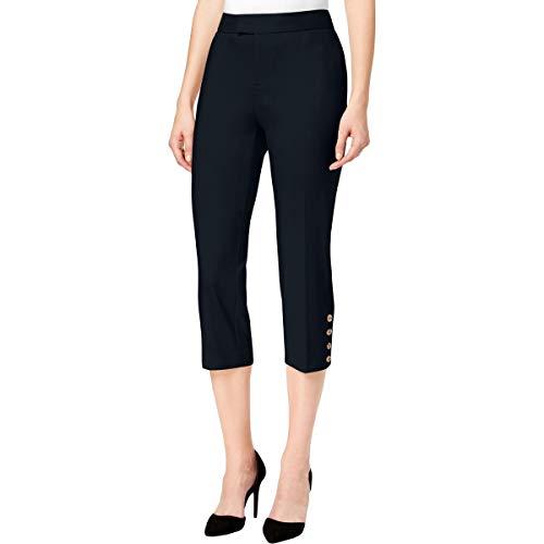 (Charter Club Womens Button Detail Dressy Capri Pants Navy 12)
