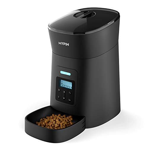 MYPIN Automatic Pet Feeder for Cats and Dogs, Food Dispenser Timer Programmable and Portion Control up to 6 Meals/Day, Voice Recording, Low Food Alarm