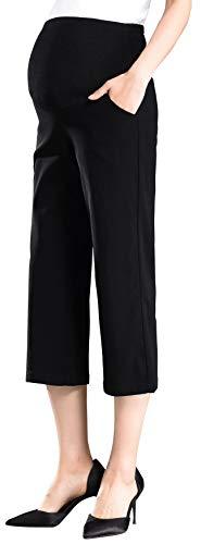Black Maternity Capris - Foucome Maternity Women's Flare Leg Lounge Pants Stretch High Waist Pregnancy Capris All Day Comfort Black