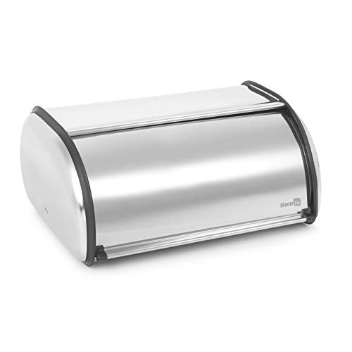 - Homiu Bread Bin for the Kitchen Premium Stainless Steel Roll Top With Window Sleek Design