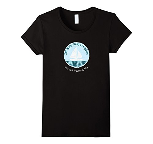 [Womens Martha's Vineyard MA Salt Water Heals Everything T-Shirt Medium Black] (Vineyard Salt)