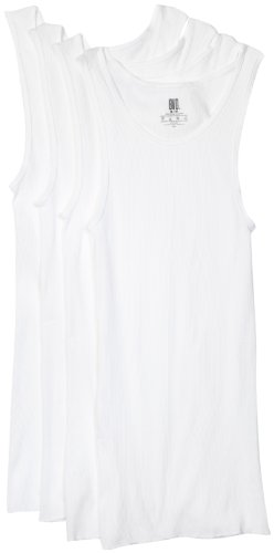BVD Men's A-Shirt, White, Medium, 4-Pack