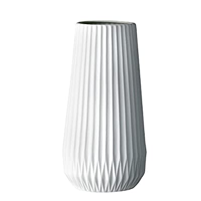 Bloomingville Tall White Ceramic Fluted Vase - Made with ceramic Includes 1 vase Sealed to holder water - vases, kitchen-dining-room-decor, kitchen-dining-room - 31JAaCEnKhL. SS400  -