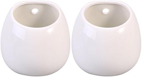 WINOMO 2本のセラミックウォールプラントポット吊りプランターフラワー花瓶穴のない植物のポット(白)