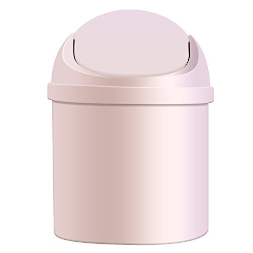 Ocaler Mini Small Waste Bin Desktop Garbage Basket Table Home Roll Swing Lid Trash Can (white)
