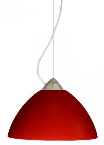 Besa Lighting 1KX-420131-LED-SN 1X6W GU24 Tessa LED Pendant with Red Matte Glass, Satin Nickel Finish