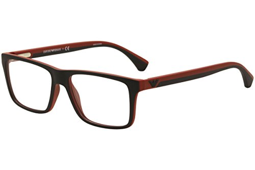 Emporio Armani EA 3034 Men's Eyeglasses Black / Red Rubber - Emporio Armani Frame