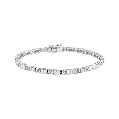 10k Baguette Bracelet (Round and Baguette Cut Dimaond Fashion Bracelet in 10K White Gold (1/2 cttw, GH Color, VS Clarity))