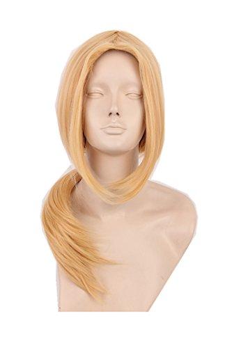[Topcosplay Medium Length Cosplay Halloween Wig Hair Middle Parting Gold Blonde] (Naruto Deidara Cosplay Costume)