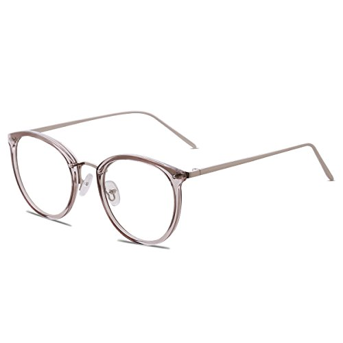 c2cdf2d5c23 Amomoma Fashion Round Eyewear Frame Eyeglasses Optical Frame Clear Lens  Glasses AM5001 (C10 Transparent Grey