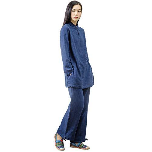 KSUA Womens Chinese Kung Fu Clothing Tai Chi Suit Cotton Yoga Suit for Zen Meditation Martial Arts, Dark Blue US XS/Tag S