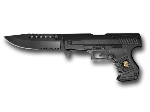 8″ Black Police Gun Style Spring Assisted Knife PKO16510-PBK, Outdoor Stuffs